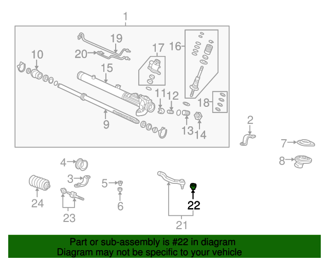 1988 Honda ACCORD COUPE LXI BOOT, TIE ROD END (TECHNICAL AUTO PARTS) - (53546SH0A01)
