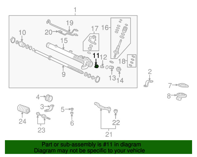 1999 Honda CIVIC SEDAN LX GUIDE, STEERING RACK - (53416S04J51)