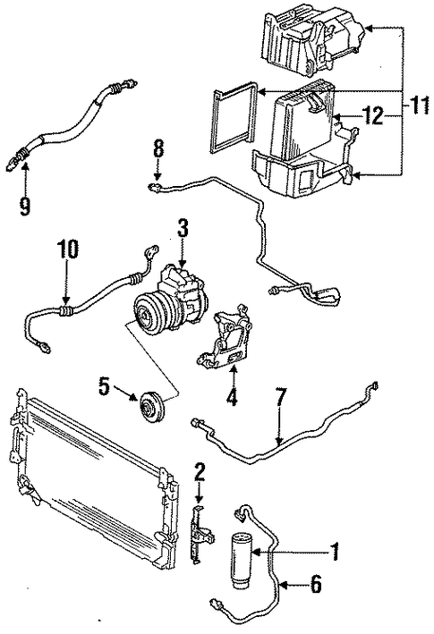 ford ranger 4 0 engine diagram o2 sensors genuine oem condenser, compressor & lines parts for 1994 ...