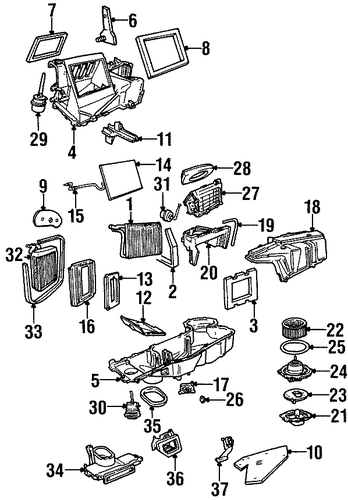 evaporator  u0026 heater components for 2001 lincoln navigator