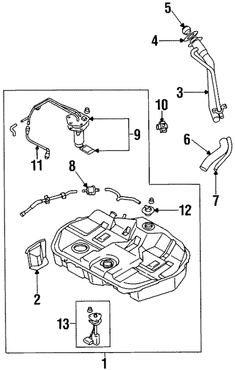 fuel system components for 2000 mitsubishi mirage
