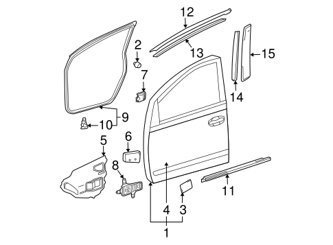 Frame molding toyota 75756 47010 for Exterior door frame parts