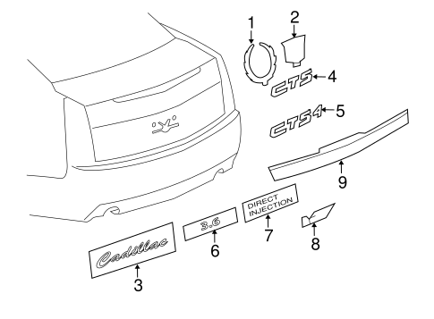 exterior trim trunk for 2011 cadillac cts. Black Bedroom Furniture Sets. Home Design Ideas