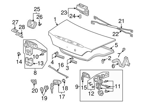 Lock, Trunk Lid (Power)(Handle) - Honda (74851-S2A-A01)