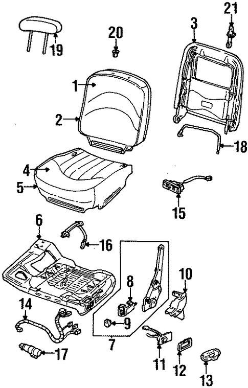 front seat components for 1997 mercury grand marquis. Black Bedroom Furniture Sets. Home Design Ideas