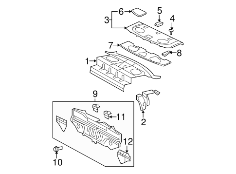 Pkg Tray Support - Toyota (64304-52080)