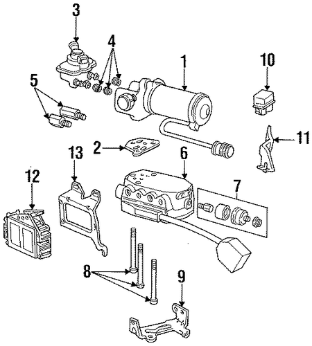 abs components for 1996 mercury grand marquis