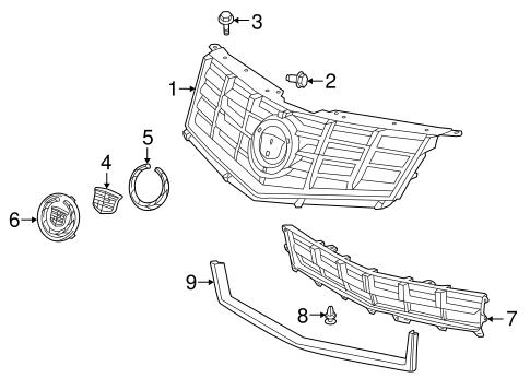 grille components parts for 2016 cadillac srx. Black Bedroom Furniture Sets. Home Design Ideas