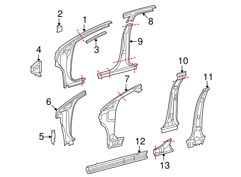 Center Pillar Reinforced - Toyota (61303-0T010)