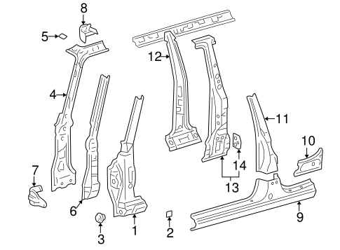 BODY/HINGE PILLAR for 1997 Toyota RAV4 #2