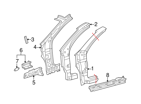 BODY/HINGE PILLAR for 2013 Toyota Sienna #1