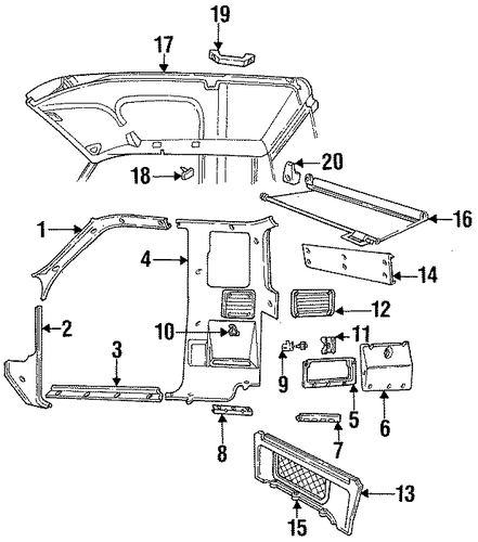 interior trim for 1995 mazda b2300