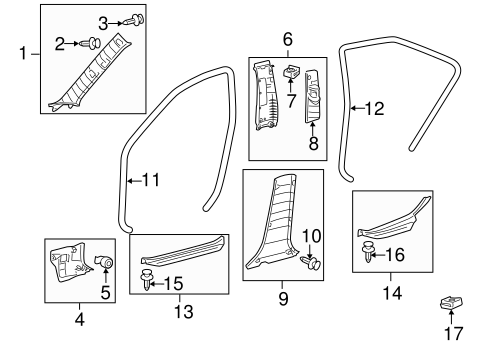 Upper Center Pillar Trim - Toyota (62410-33140-E1)