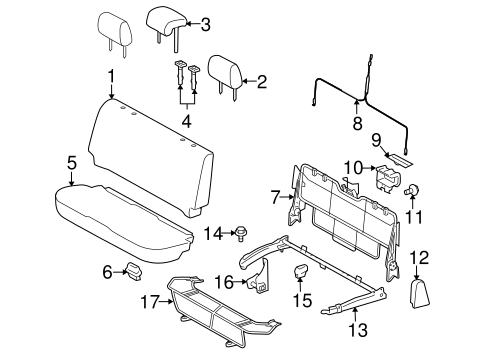 BODY/REAR SEAT COMPONENTS for 2011 Toyota Yaris #2