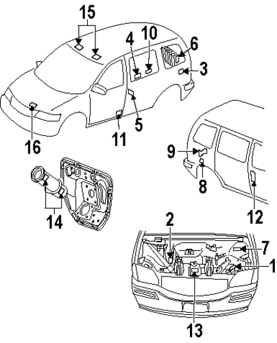 labels for 2000 oldsmobile silhouette