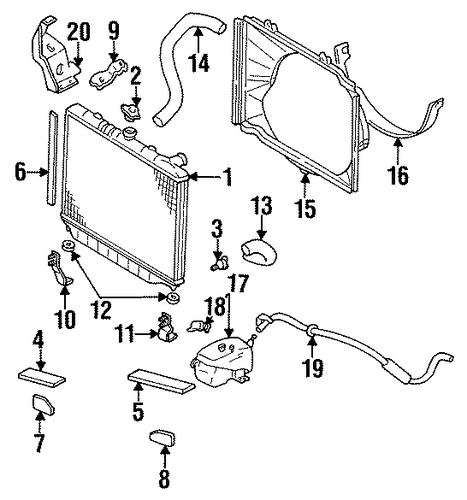 Radiator Seal Mount Bracket - Honda (8-97187-675-0)