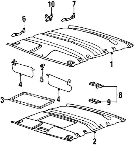 interior trim roof parts for 1996 saturn sl