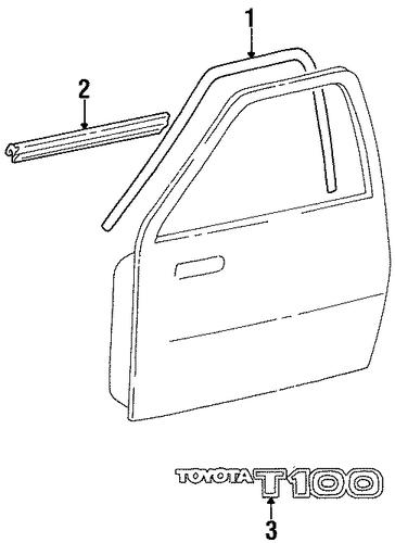 Exterior trim door for 1997 toyota t100 toyota parts for Exterior door parts