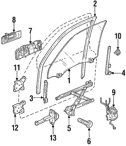 1993 Honda ACCORD SEDAN SE Sash, L Front Door (Lower) - (72270SM4013)
