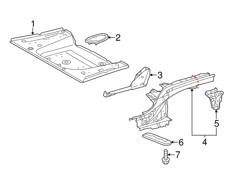 BODY/REAR FLOOR & RAILS for 2015 Scion iQ #1