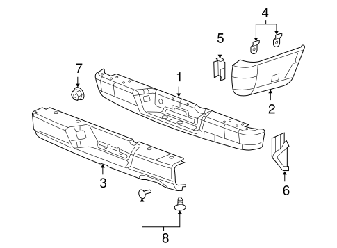 361438915030 in addition P 0996b43f802c5523 in addition ZryXwXF7v4 further Dodge Ram Parts Schematic together with Bumper And  ponents Rear Scat. on dodge ram 1500 rear bumper