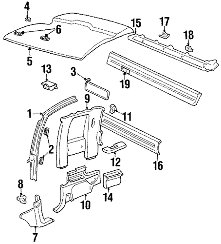 Oem Interior Trim Cab For 1989 Chevrolet K1500 Pickup