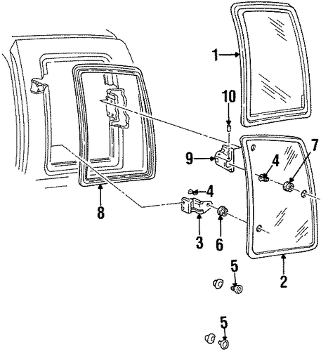 side glass parts for 1990 chevrolet c1500