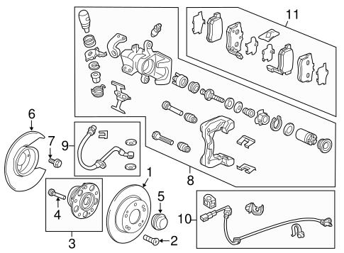 OEM Honda 43022-SV4-A23 - Pad Set, Rear