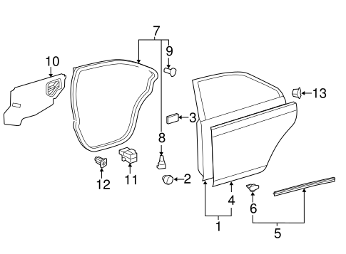 BODY/DOOR & COMPONENTS for 2013 Toyota Camry #2