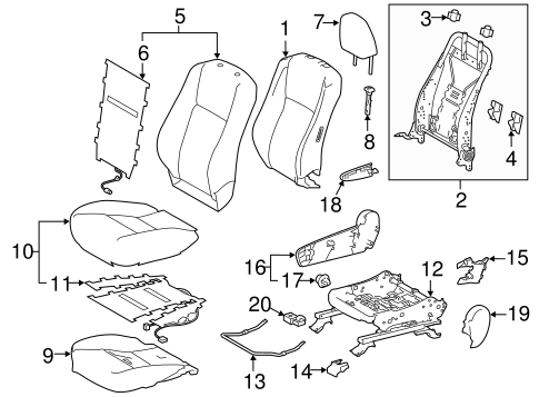 BODY/PASSENGER SEAT COMPONENTS for 2015 Toyota Highlander #2