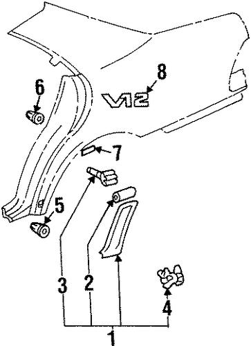 Exterior trim quarter panel for 1998 mercedes benz s 500 for Mercedes benz exterior parts