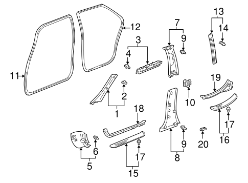 Center Pillar Trim - Toyota (62413-AC020-E0)