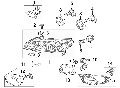 OEM Honda 06150-SNA-A11 - Leg Kit B, L Headlight Mounting