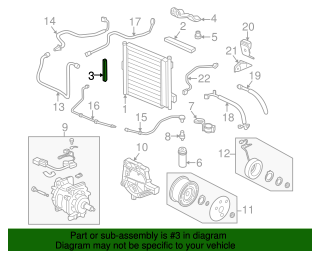 1996 Honda CIVIC SEDAN LX (ABS) SEAL, R. CONDENSER - (80116S04000)