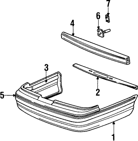 bumper components rear for 1996 mercury grand marquis. Black Bedroom Furniture Sets. Home Design Ideas