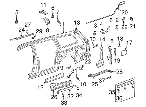 BODY/FUEL DOOR for 1998 Toyota Sienna #1