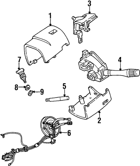 SHROUD, SWITCHES & LEVERS For 2002 Ford Crown Victoria