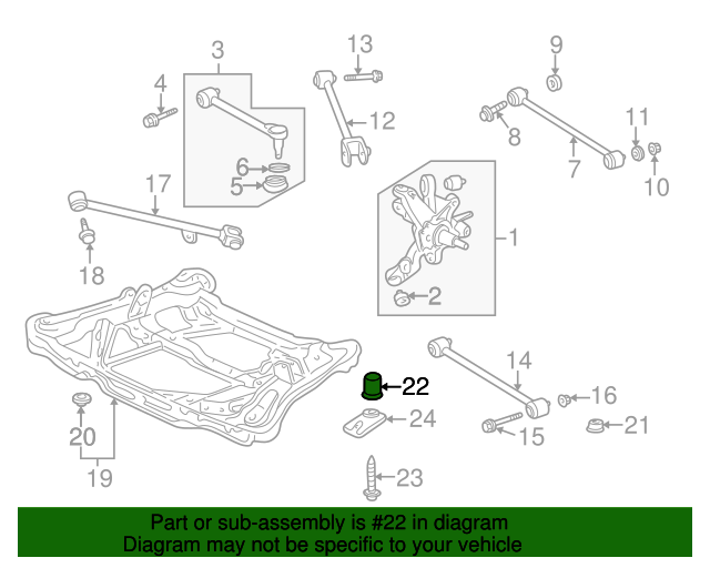 1999 Honda ACCORD SEDAN EXV6 INSULATOR F, SUB-FRAME MOUNTING (LOWER) - (50352S87A00)