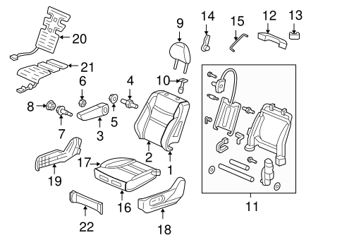 OEM Honda 81144-SDA-A01ZH - Headrest Guide