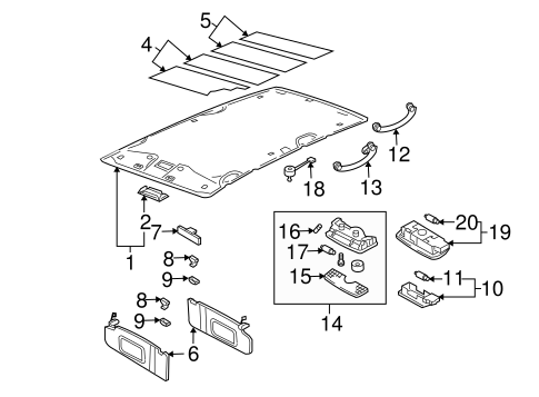 Oem Vw Interior Trim Roof For 2000 Volkswagen Jetta