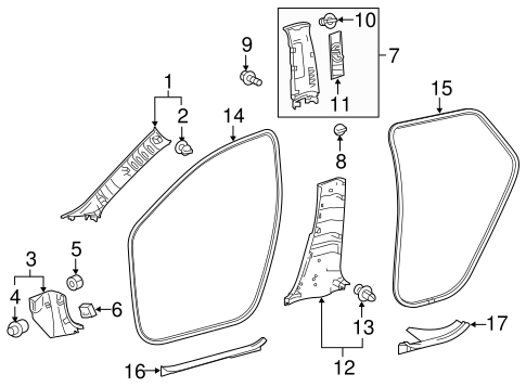Lower Center Pillar Trim - Toyota (62414-12340-C0)