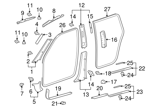Windshield Pillar Trim - Toyota (62220-48020-B1)