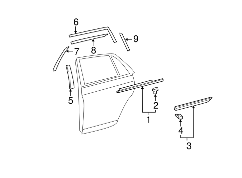 BODY/EXTERIOR TRIM - REAR DOOR for 2008 Toyota Avalon #1