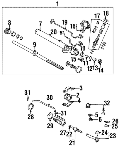 Rack, Power Steering - Honda (53601-S30-A21)