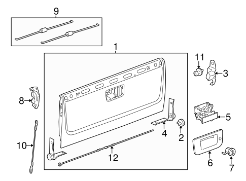 gmc sierra tailgate parts diagram oem tailgate for 2011 chevrolet silverado 2500 hd ... gmc sierra fuse panel diagram #14