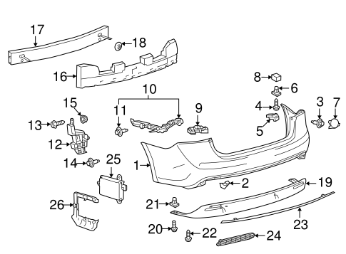 BODY/BUMPER & COMPONENTS - REAR for 2015 Toyota Avalon #1
