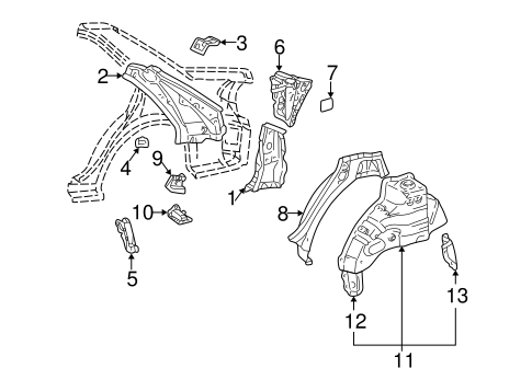 BODY/INNER STRUCTURE for 2005 Toyota Camry #2