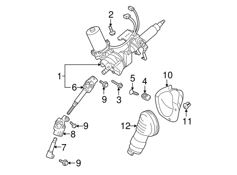 STEERING/STEERING COLUMN ASSEMBLY for 2007 Toyota Prius #1