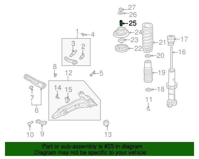 1999 Honda ACCORD SEDAN EXL (LEATHER) COLLAR, SHOCK ABSORBER MOUNTING (DUFFY STEEL PARTS) - (51728SR0003)