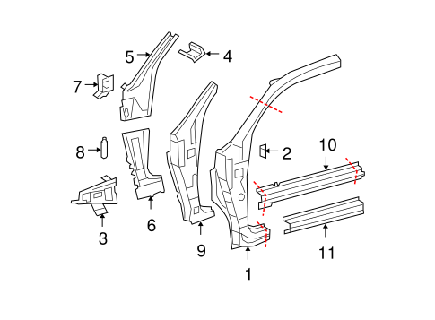 BODY/HINGE PILLAR for 2007 Toyota Tundra #3